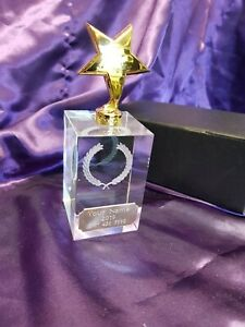 Unique gold presentation mono block Glass Crystal Engraved in Presentation Box