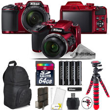 Nikon COOLPIX B500 RED Camera 40x Optical Zoom + Tripod + Backpack - 64GB Kit