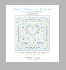 PRINCESS DIANA IN MEMORIAM COUNTED CROSS STITCH SAMPLER KIT by RIVERDRIFT HOUSE