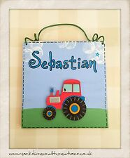 RED Tractor Room Door Sign Farm Plaque PERSONALISED WITH NAME Wooden childs Gift