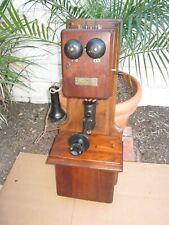 Antique Vintage Chicago Tel. Oak & Walnut Wood Double Box Wall Crank Telephone