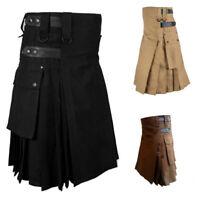 US Retro Scottish Men's Kilt Traditional Highland Dress Skirt Tartan Kilts Dress