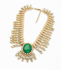 Statement Necklace Gold Emerald Green Strass Pearls Oval Baroque Vintage OSC5