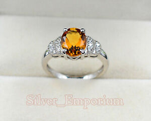 10X8 MM Oval Natural Citrine Gemstone 925 Sterling Silver Wedding Ring For Women
