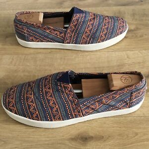 Toms Avalon Blue Orange Zig Zag Canvas Slip On Pumps Trainers UK10 (US11) Shoes