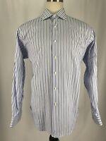 Robert Talbott Estate Blue Striped Button Up Shirt Men's Sz 17.5-44 EUC