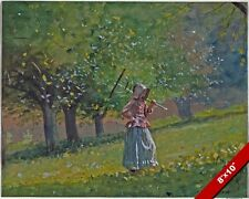 YOUNG GIRL ON THE FARM OR ORCHARD WITH A RAKE PAINTING ART REAL CANVAS PRINT