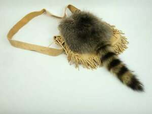 Real Raccoon Tail Bag with Brain Tanned Leather (430-10-G3012) K24