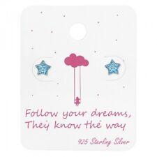 925 Sterling Silver Blue Glitter Star Message Card Stud Earrings