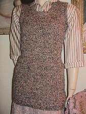 Silence + Noise marled peach black white zip back sleeveless tunic sweater S-M