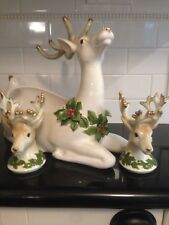 Large Fitz & Floyd Christmas Reindeer Centerpiece & Matching Candle Holders