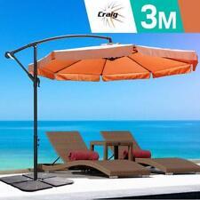 3m Outdoor Umbrella w/Base Garden Cantilever Deck Patio Steel Frame Shade Tan