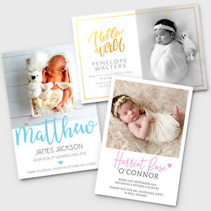 New Baby Thank You Cards - Personalised Photo Birth Announcement Girl / Boy