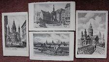 4 Vintage Mainz Postcard Markt Dom Liebfrauenplatz Deutschland Germany HJ Anstos