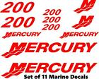 (11pc) Set of 200 Hp Mercury outboard boat cowling decal set custom color choice
