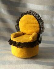 Vtg CHAIR Pin Cushion Velvet Yellow Arm Chair w/black lace