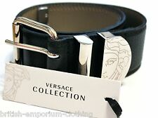 VERSACE COLLECTION Ladies Black Grained Leather Belt Made In Italy BNIB Size 70.