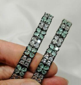 Indian Pakistani Mint  White 2 American Diamond Bangles With Black Polish 2.10