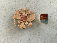Russian Military Army Imperial Two Headed Eagle Crest Hat Pin Badge KOKARDA ..
