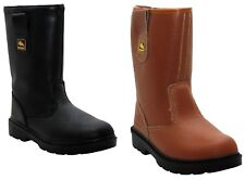 MENS WOMENS LEATHER STEEL TOE CAP SAFETY WORK FUR LINED RIGGER BOOTS SHOES 5-13