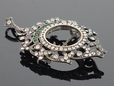 Antique French Art Nouveau 1900 Sterling & Rhinestone Frame Pendant Brooch, 14g