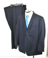 Hart Schaffner Marx Mens Dark Navy Suit Wool Stretch Blend Button Jacket 52R