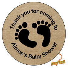 35x BABY SHOWER Personalised FEET Shabby Brown Kraft Effect Favour Stickers -249