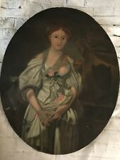 """FAB! Antique English School Primitive Oil Painting on Canvas Semi Nude 32"""" x 25"""""""