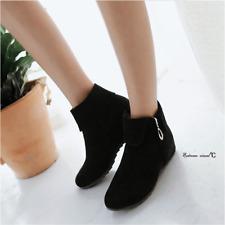 Женские сапоги модный низкий каблук комфорт из искусственной замши лодыжки боковая молния обувь плюс размер