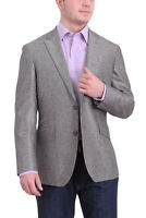 Mens 40R Mens Napoli Gray Sharkskin Half Canvassed Wool Silk Blend Blazer Spo...
