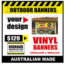 Custom Outdoor Vinyl Banner Sign  - 3300mmW x 900mmH Signage Warehouse