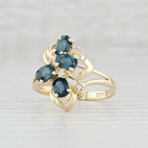 1.17ctw Blue Sapphire Diamond Flower Ring 14k Yellow Gold Size 6.75 Cluster