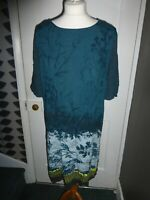 WHITE STUFF UK 14 EU 42 TEAL VISCOSE LEAFY PRINT SHORT SLEEVE DRESS