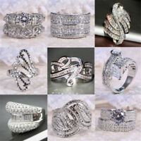 Fashion Women 925 Silver White Sapphire Gemstone Rhinestone Ring Wedding Jewelry