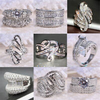 Fashion 925 Silver White Sapphire Gemstone Rhinestone Ring Women Wedding Jewelry