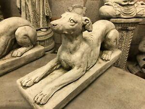 Greyhound whippet concrete stone garden statue ornament sculpture on base dog