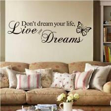 DIY DON'T DREAM YOUR LIFE, LIVE YOUR DREAMS WALL QUOTE DECAL PVC WORDS STICKER Q