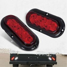 """LED RED 6"""" Pair Trailer Truck Lights Oval Stop Turn Tail Light Marine Waterproof"""