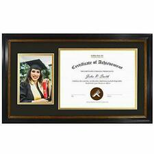 11x19.5 Diploma Frame Double Mat for 8.5x11 Certificate , 5x7 Picture 2 Openings