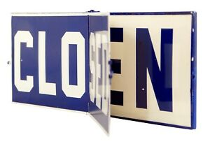 Hinged Open or Closed Blue and White Metal Sign 20 Inches