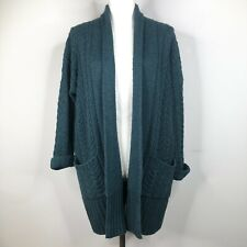Cullen Open Front Cardigan Sweater Womens P S Blue Cable Knit Open Cashmere Wool