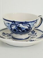 Vintage Delft Blue Cup & Saucer Hand Painted Holland Blue Delft Windmill Print