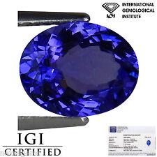 2.14 Ct IGI Certified AAA Natural D Block Tanzanite Blue Violet Color Oval Cut