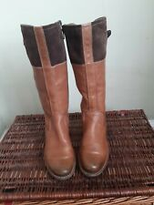 ECCO Suede Leather Boots Size Uk 8 Eur 41 Womens Ladies Sexy Wedge Brown Boots