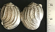 "2"" VTG Antique Sterling Nautilus Sea Shell Repousse Filigree Puffy Hing Pill Box"
