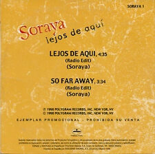 "SORAYA ""LEJOS DE AQUI"" ULTRA RARE SPANISH PROMO CD SINGLE / LAMILLA CUEVAS"