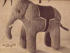 1940's Elephant - COPY toy knitting pattern