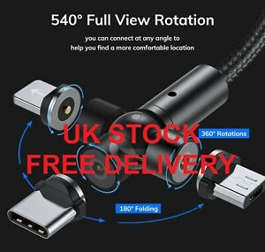 3 in 1 540° Magnetic Fast Charging USB Cable 2.4A Phone Type-C Micro USB IOS