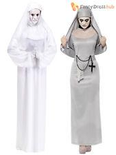 Ladies Halloween Nun White Ghost Horror Film Conjuring Fancy Dress Costume