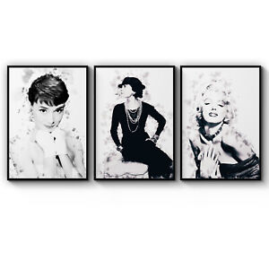 Set of 3 Fashion Icons Audrey, Coco & Marilyn Art Poster Print - A3 A2 A1 A0